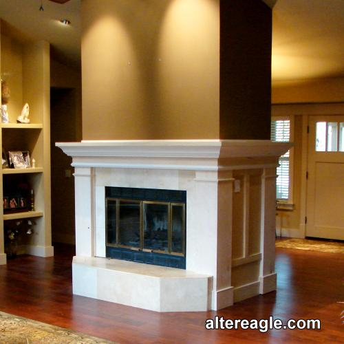 Custom fireplace mantels, surrounds and mantels with cabinets