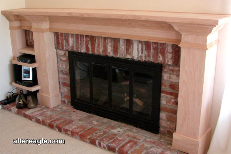 Oak Mantel With 3 Columns